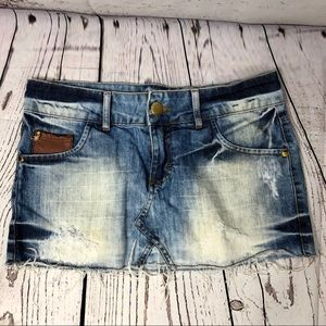 Agua De Coco Distressed Denim Mini Skirt Brazil 10